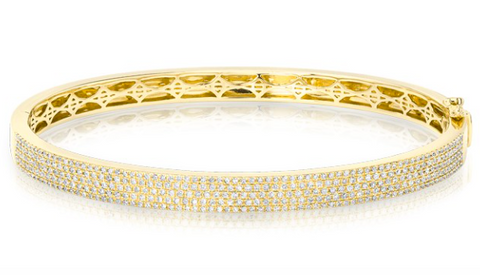 14KT Yellow Gold Half Pave Diamond Bangle