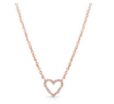 Small Open Diamond Heart Necklace