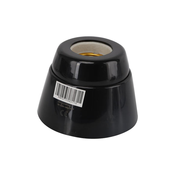 LAMP HOLDER CERAMIC 40W  STRAIGHT BLACK