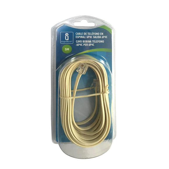 TELEPHONE COIL CORD /6P4C TO 6P4C  5M