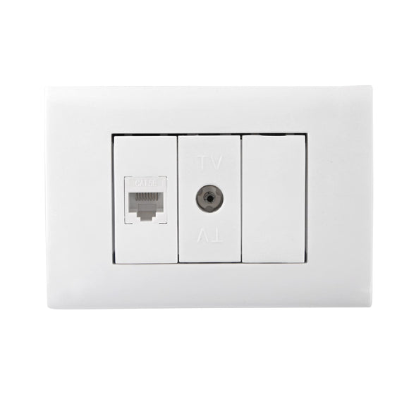 SWITCH AND SOCKET COMBINATION(ONE RJ45 CONNECTOR +TV CONNECTOR+ONE WAY BLANK)