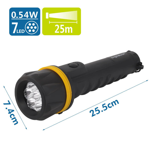 LED RUBBER TORCH BLACK 7LED ,use 3*D batteries