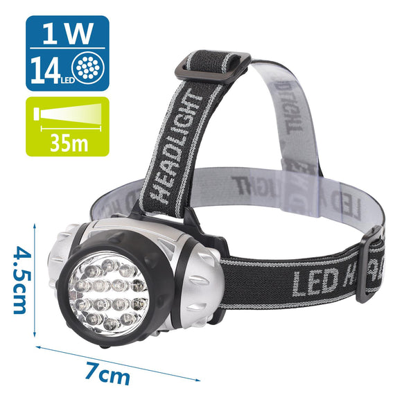 LED HEAD LAMP01 SILVER 14LED,use 3*AAA batteries