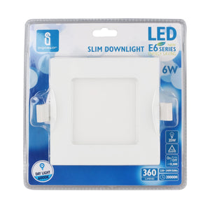 LED E6 SLIM DOWN LIGHT 6W 6000K(Cutout:105mm) /SQUARE/BLISTER