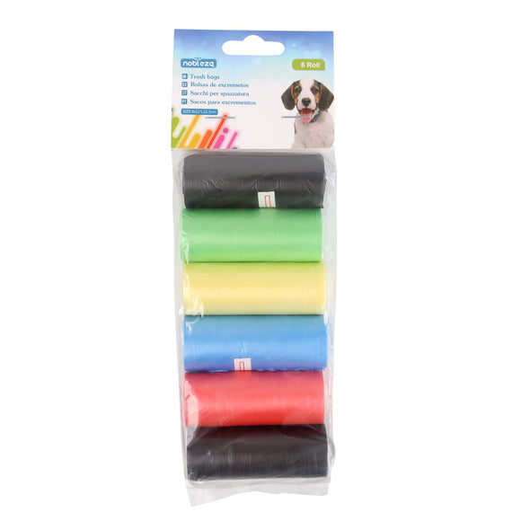 TRASH BAGS 6 ROLLS THICKNESS 0.008MM W23*L32CM BLUE&PINK&YELLOW&GREEN&BLACK