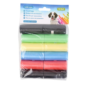 TRASH BAGS 12 ROLLS THICKNESS 0.008MM W23*L32CM BLUE&PINK&YELLOW&GREEN&BLACK