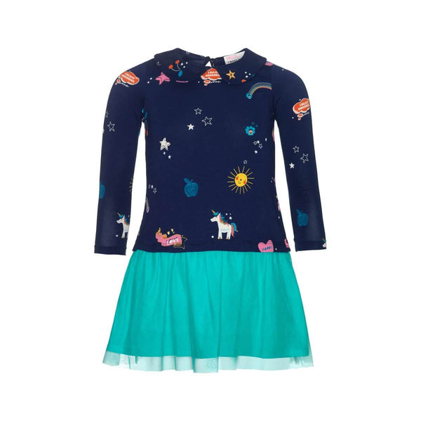 MP Dress Blue with Multi Print & Teal Tulle Skirt