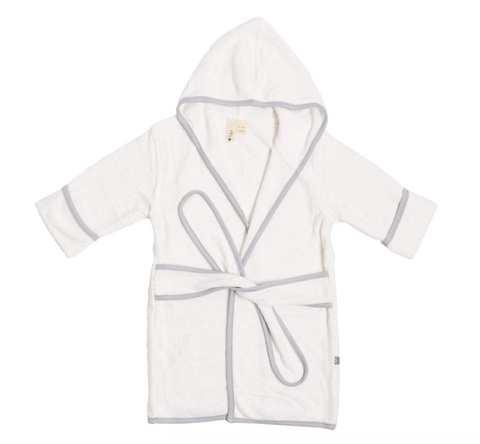 Kyte Bath Robe in Cloud with Storm Trim