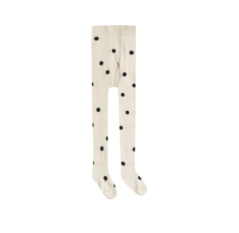 Rylee and Cru Dot Ribbed Tights Black/Wheat