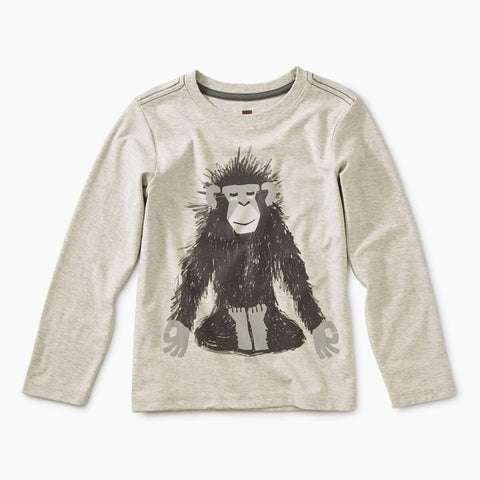 Tea Collection Monkey Ohm Graphic Tee Light Heather Grey