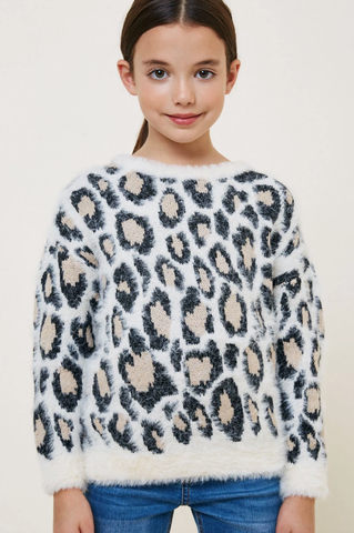 Hayden Leopard Mohair Pull Over Sweater Top Ivory
