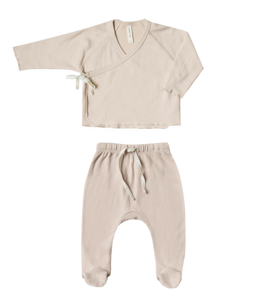 Quincy Mae Kimono Top+Footed Pant Set Rose