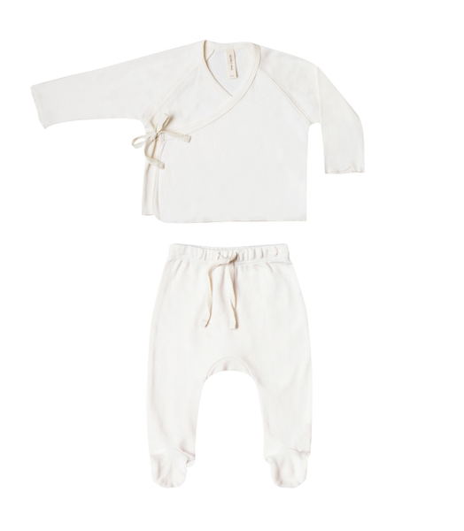 Quincy Mae Kimono Top+Footed Pant Set Ivory