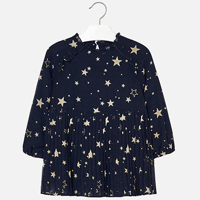 Mayoral Marino Navy/Star Pleated Floral Dress