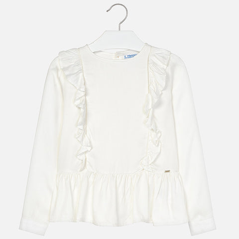 Mayoral Crudo Natural Vicose Ruffle Blouse