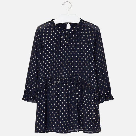 Mayoral Marino Navy/Gold Dot Dress