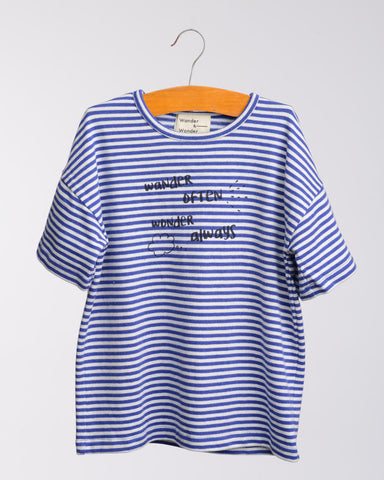 "Wander and Wonder ""Wander often"" tee Blue stripe"