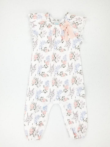 Feather Baby Bow Romper - Annabelle on White