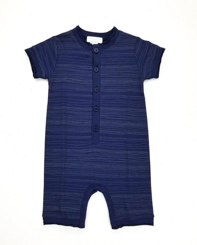 Feather Baby Henley Romper - Stripe on Indigo