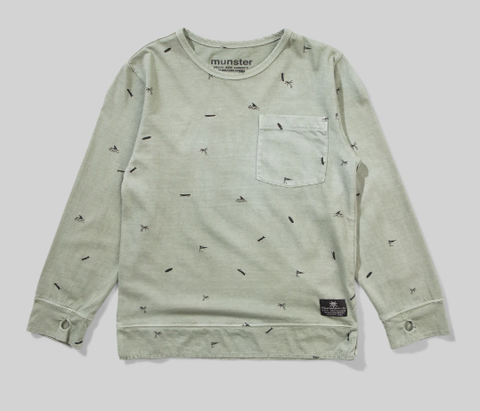 Munster Kids Fin Soup Long Sleeve Tee Washed Olive