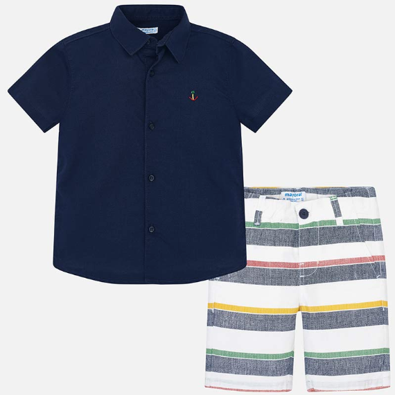 Mayoral Short Set Navy with Striped Shorts