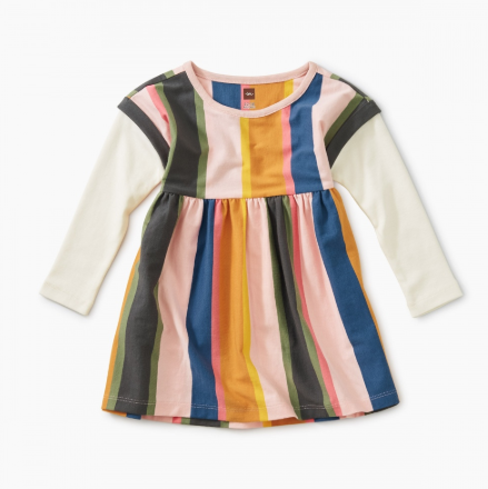 Tea Striped Layered Sleeve Dress Festival Stripe