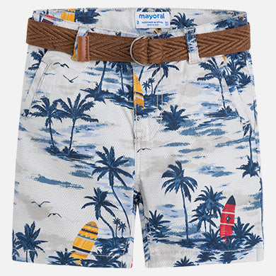 Mayoral Light Gray Printed Shorts with Palm Trees and Belt