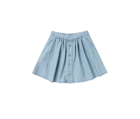 Rylee and Cru Button Front Mini Skirt Washed Denim