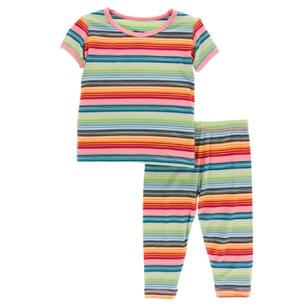 Kickee Pants Print Short Sleeve Pajama Set (Cancun Strawberry Stripe)