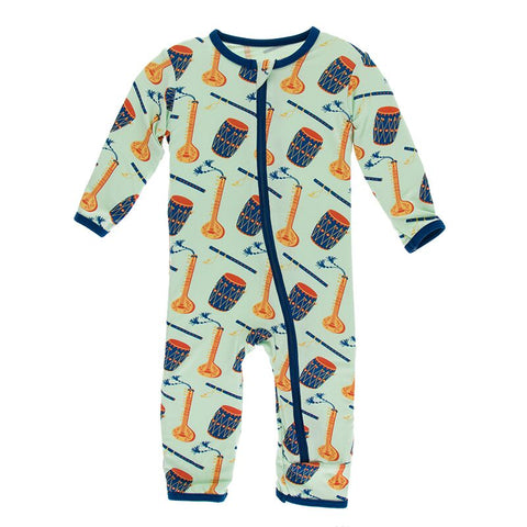 Kickee Pants Print Coverall with Zipper Pistachio Indian Instruments