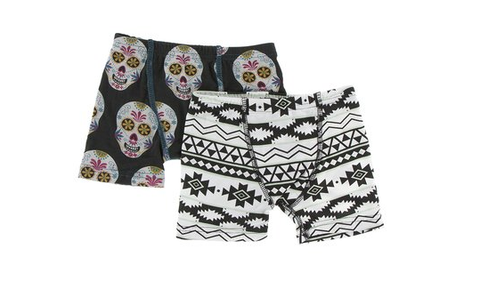 Kickee Pants Boxer Briefs Set (Dia de los Muertos Skulls and Natural Mayan Pattern