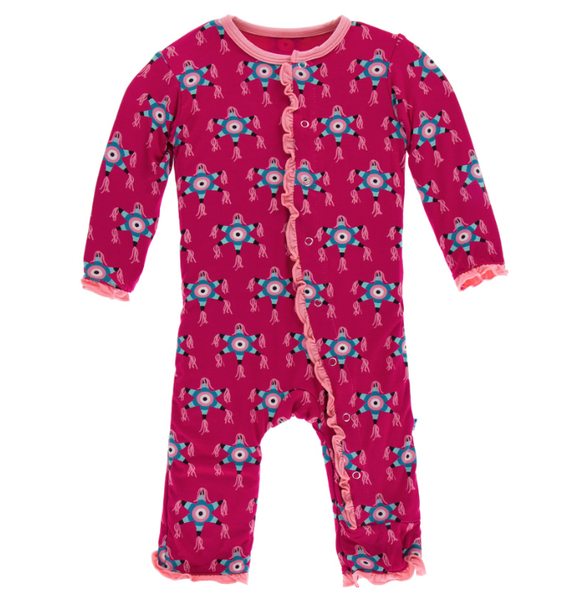Kickee Pants Print Muffin Ruffle Coverall with Zipper (Rhododendron Pinata)