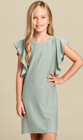 For All Seasons Flounce Sleeve Dress Sage