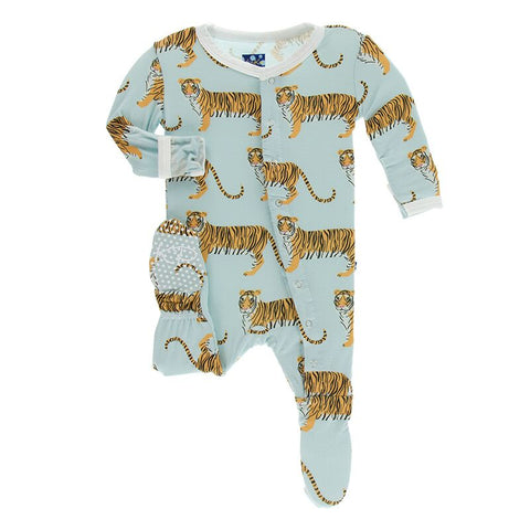 Kickee Pants Print Footie with Zipper Spring Sky Tiger