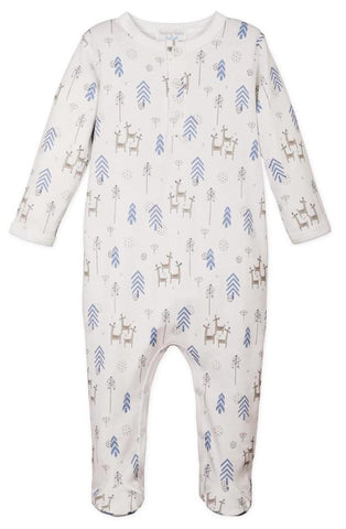 FB Henley Footie - Festive Deer - Blue on White
