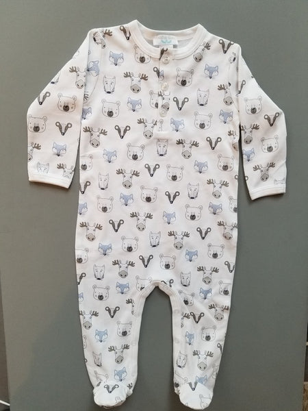 Feather Baby Henley Footie Field Animals - Blue on White