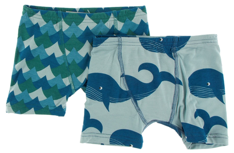 Kickee Pants Boxer Briefs Set - Ivy Waves and Jade Whales