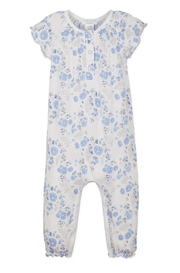 Feather Baby Ruched Romper - Maria Blue on White