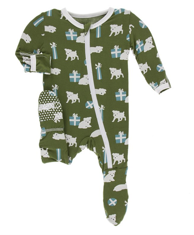 Kickee Pants Print Footie with Zipper (Moss Puppies and Presents)