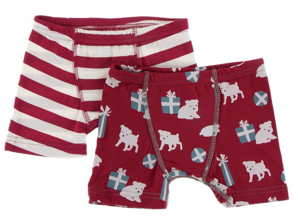 Kickee Pants Boxer Briefs Set (Candy Stripe and Crimson Puppies and Presents)