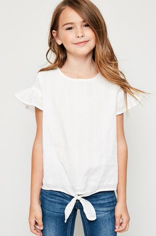 Hayden Off White Textured Flutter Sleeve Tie-Front Top