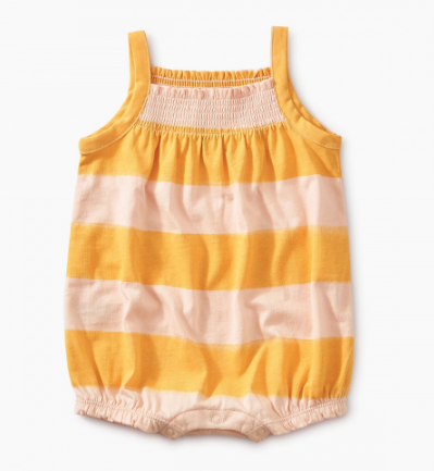 Tea Collection Printed Smocked Romper Painted Stripe