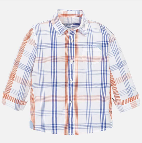 Mayoral White L/S Shirt Checked Shirt Passion Fruit
