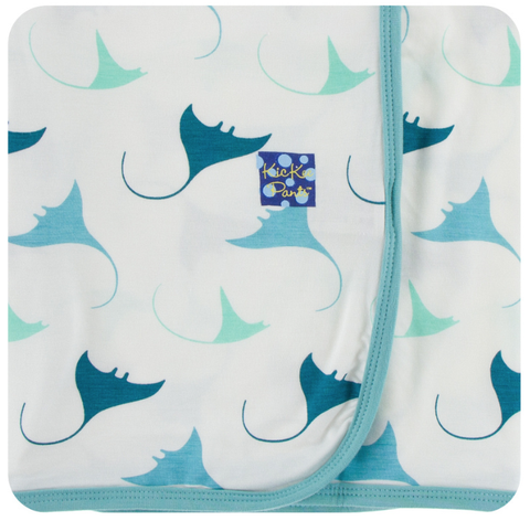 Kickee Pants Print Swaddling Blanket (Natural Manta Ray)
