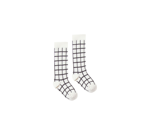 Rylee and Cru Socks Check Black/Ivory