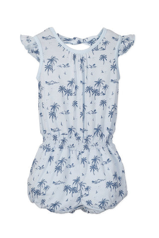Feather Baby Tie Romper - Hawaii - Indigo on Baby Blue