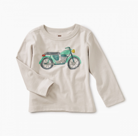 Tea Collection  Mini Moto Graphic Baby Tee Vapor
