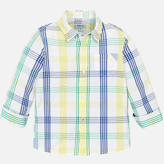 Mayoral White L/S Shirt Checked Shirt Seaweed