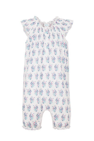 Feather Baby Angel-Sleeve Romper - Samantha on White