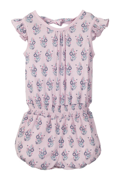 Feather Baby Tie Romper - Samantha on Pink